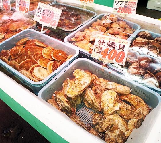 武田鮮魚店內有各式貝類