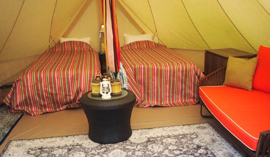 中札內農村休暇村野外露營也有舒適的床鋪喔