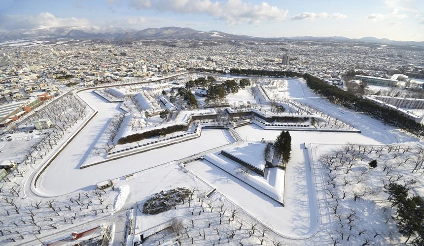 函館的五星型城郭雪景