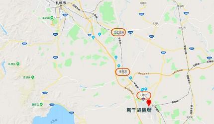 千歲市、惠庭市、北廣島市的地理位置