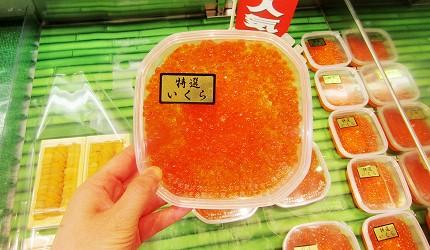 北海道新千歲機場土產店「北連」的醬油醃漬鮭魚子