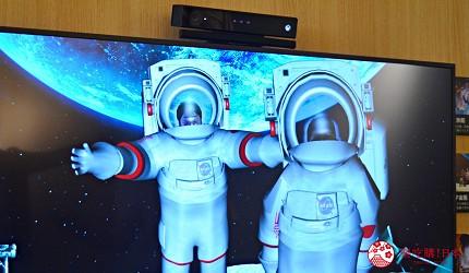 函馆亲子游推荐景点:「函馆未来馆」的设施「互动镜面」(インタラクティブミラー)的太空人