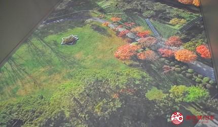 函馆亲子游推荐景点:「函馆未来馆」的设施「幻像步游」(想像の廊下)呈现五稜郭公园美景