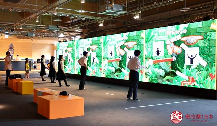 函馆亲子游推荐景点:「函馆未来馆」的设施「多媒体墙面」(メディアウォール)与其他人一起竞赛