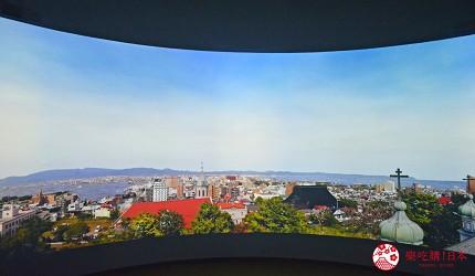 函馆亲子游推荐景点:「函馆未来馆」的设施「360度影像馆」(360 Studio)可以欣赏函馆风景影像
