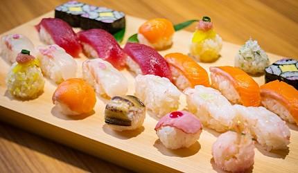 北海道函館湯之川王子飯店「渚亭」的自助餐廳「渚」的手握壽司