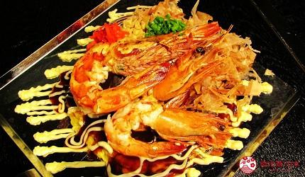 北海道札幌高CP值推薦鐵板燒專門店「雪昇」的大蝦御好燒(大海老お好み焼き)