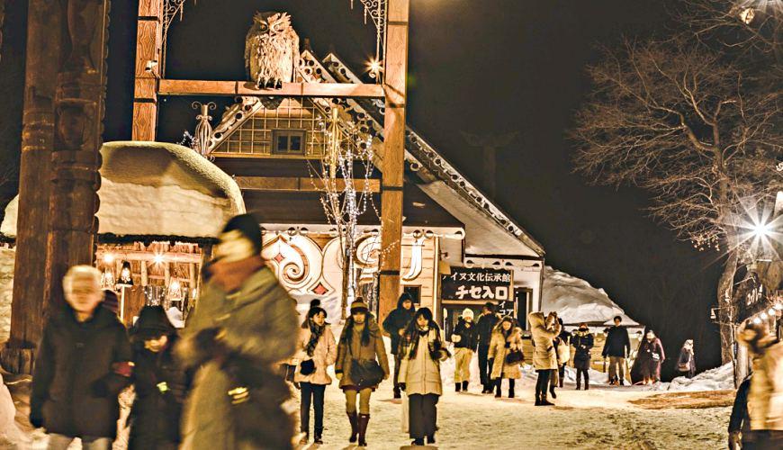 北海道釧路「阿寒湖」旅行推薦景點!冬天的阿寒湖愛努村(阿寒湖アイヌコタン)一景