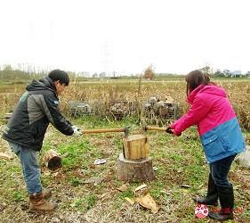 北海道劈柴烤野菜體驗!石狩當別「Harukichi Farm」農場練習劈柴中