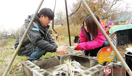 北海道劈柴烤野菜體驗!石狩當別「Harukichi Farm」農場生火放入報紙