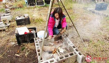 北海道劈柴烤野菜體驗!石狩當別「Harukichi Farm」農場生火放入樹皮