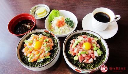 函馆必吃炭火烧烤名店「きくよ食堂 Bay Area店」的海鲜肉脍丼定食(海鲜ユッケぶっかけ丼)