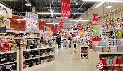 新千岁机场旁,北海道必逛最大购物城「Chitose Outlet Mall Rera」内的Franc franc BAZAR的店内一景