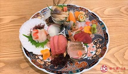 札幌狸小路吃和牛海鮮店「北海道朝市」的料理「生魚片10種拼盤」(本日のお刺身10点)