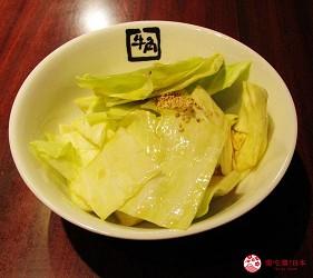 提供包括獨家創作料理、和牛及牛肉稀有部分的「牛角」在北海道分店「牛角札幌站前店」提供的美味鹽捲心菜
