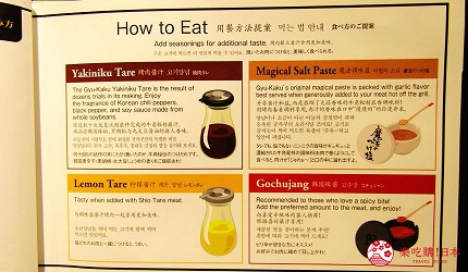 提供包括獨家創作料理、和牛及牛肉稀有部分的「牛角」在北海道分店「牛角札幌站前店」提供的多國語言餐單