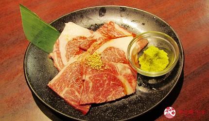 提供包括独家创作料理、和牛及牛肉稀有部分的「牛角」在北海道分店「牛角札幌站前店」提供的上等黑毛和牛里嵴肉