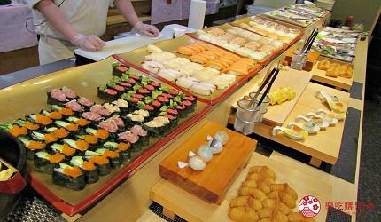 能夠讓你一次吃遍螃蟹、壽司、牛排等100種以上北海道美食的高質量吃到飽自助餐餐廳Premium Live Kitchen 「The Sakura Buffet」內的壽司跟生魚片魚生刺身