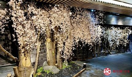 能夠讓你一次吃遍螃蟹、壽司、牛排等100種以上北海道美食的高質量吃到飽自助餐餐廳Premium Live Kitchen 「The Sakura Buffet」門口貼合餐廳名字的櫻花裝飾