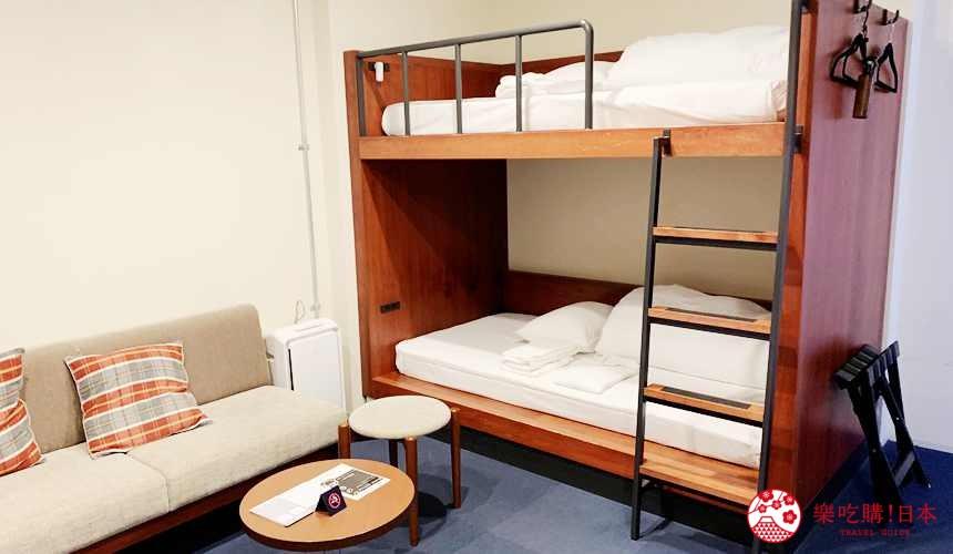 函馆住宿推荐青年旅馆「HakoBA 函馆」的「BUNK BED 4」房型