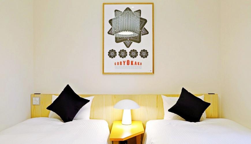 函馆住宿推荐青年旅馆「HakoBA 函馆」的人气双床房