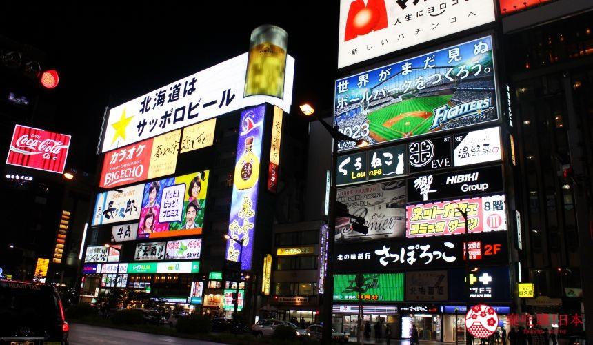 札幌螃蟹必吃推薦「螃蟹家本店」附近的薄野站一景