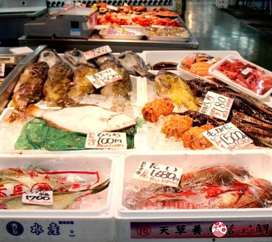 日本北海道自由行推介道東釧路的釧路和商市場的魚檔