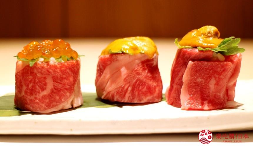 北海道自由行必去札幌食必吃和牛烧肉推荐推介美食店肉割烹八寸的招牌菜北海道产和牛及海胆寿司UNIKU并排在碟上