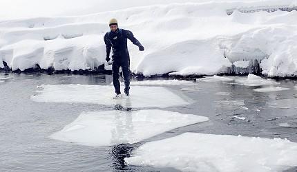 冬季遊北海道這樣玩!支笏湖挑戰「冰上漫步」
