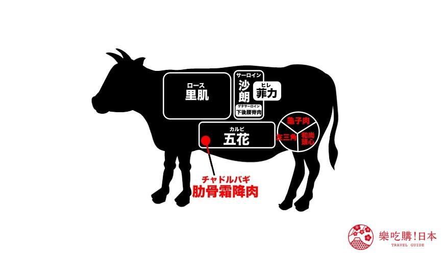 日本和牛部位示意圖