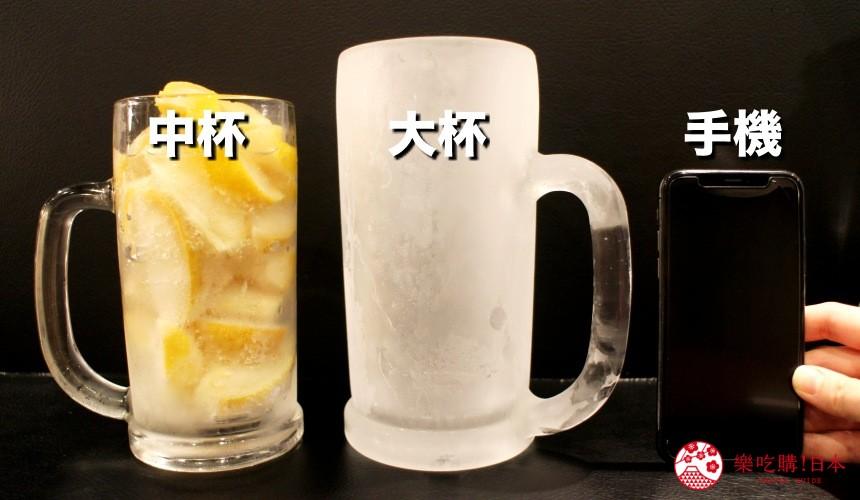 日本北海道自由行美食推薦推介薄野站附近和牛燒肉店BULL提供的生檸檬沙瓦檸檬氣泡酒的中杯跟大杯跟手機並排