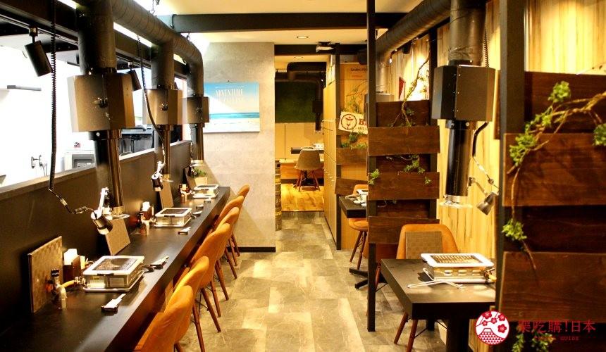 日本北海道自由行美食推薦推介薄野站附近和牛燒肉店BULL店內的吧台是一人座位區