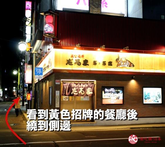 前往日本北海道自由行美食推薦推介薄野站附近和牛燒肉店BULL的步驟四看見黃色招牌的餐廳後停下來