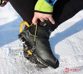 北海道道東三湖必玩雪上活動推薦推介雪上自行車單車的裝備要扣在腳弓處