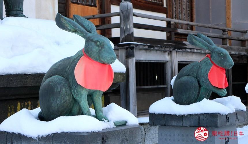 北海道函馆青森弘前行程推荐推介滑雪温泉雪樱点灯日本北国风情体验金刚山最胜院里的神兔雕像
