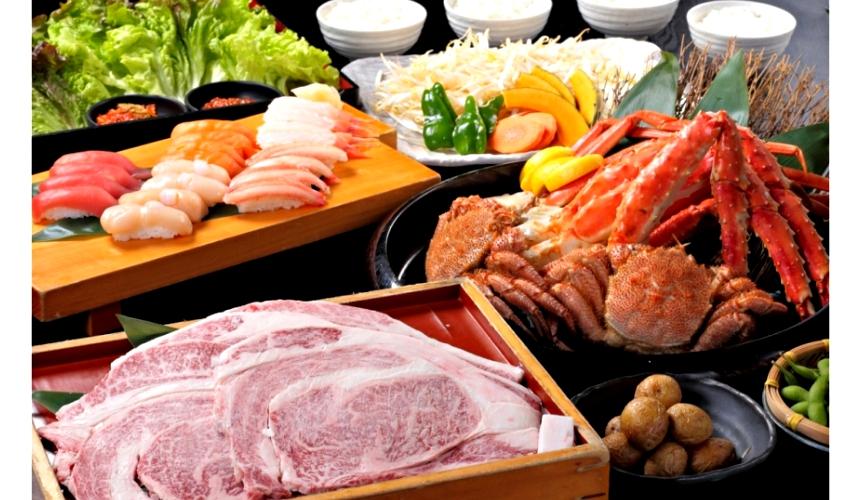 札幌生啤酒成吉思汗烤肉、螃蟹與和牛店家推薦「麒麟啤酒園」三大螃蟹&白老產黑毛和牛排套餐(三大蟹と白老産黒毛和牛ステーキコース)