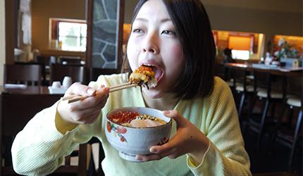 函馆必吃炭火烧烤名店「きくよ食堂 Bay Area店」的元祖函馆巴丼实际试吃之二